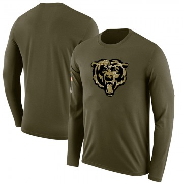 Men's Blank Chicago Bears Salute to Service Sideline Olive Legend Long Sleeve T-Shirt