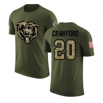 Men's Xavier Crawford Chicago Bears Olive Salute to Service Legend T-Shirt