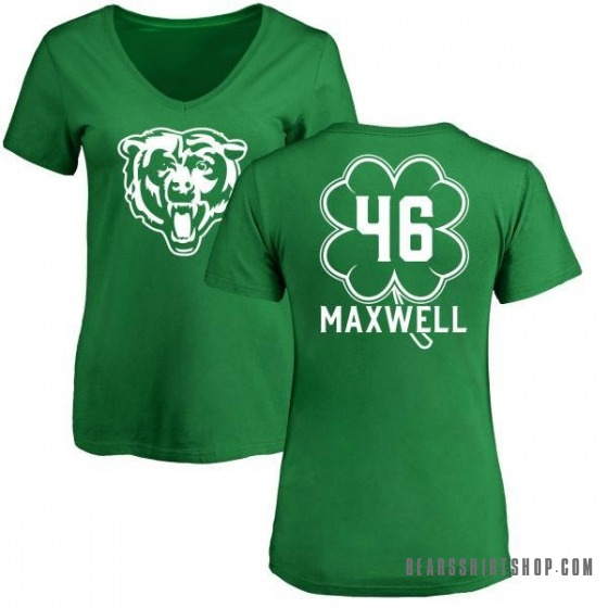Women's Napoleon Maxwell Chicago Bears Green St. Patrick's Day Name & Number V-Neck T-Shirt