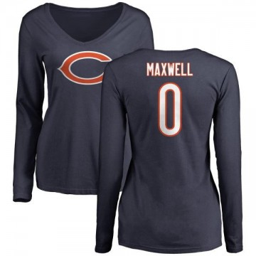 Women's Napoleon Maxwell Chicago Bears Name & Number Logo Slim Fit Long Sleeve T-Shirt - Navy