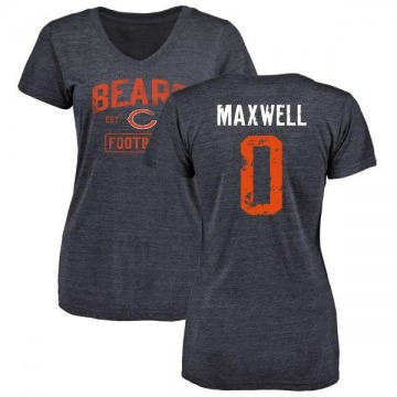 Women's Napoleon Maxwell Chicago Bears Navy Distressed Name & Number Tri-Blend V-Neck T-Shirt