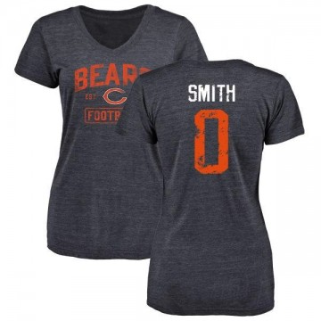 Women's Rashad Smith Chicago Bears Navy Distressed Name & Number Tri-Blend V-Neck T-Shirt