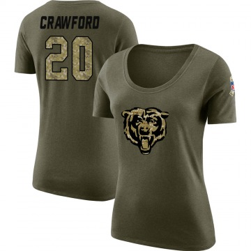 Women's Xavier Crawford Chicago Bears Salute to Service Olive Legend Scoop Neck T-Shirt