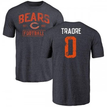 Youth Badara Traore Chicago Bears Navy Distressed Name & Number Tri-Blend T-Shirt