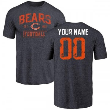 Youth Custom Chicago Bears Navy Distressed Custom Name & Number Tri-Blend T-Shirt