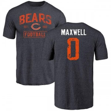 Youth Napoleon Maxwell Chicago Bears Navy Distressed Name & Number Tri-Blend T-Shirt