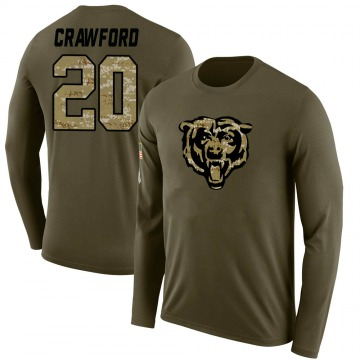 Youth Xavier Crawford Chicago Bears Salute to Service Sideline Olive Legend Long Sleeve T-Shirt